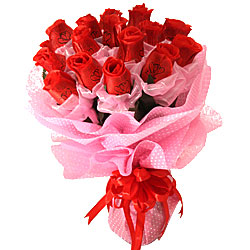 Brilliant Arrangement of 15 Artificial Red Roses with Immortal Love