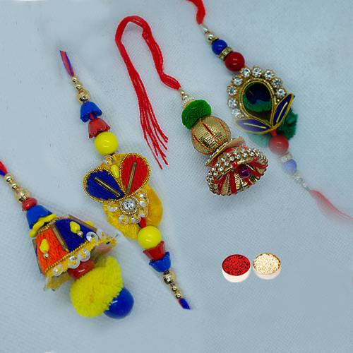 Fabulous Rakhi Special Bhaiya Bhabhi Rakhi Lumba Set (2 Pair) with free Roli Tilak, and Chawal for this Raksha Bandhan