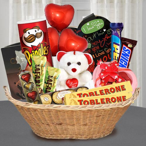 Delicious Chocolate Gift Basket with Teddy N Balloons