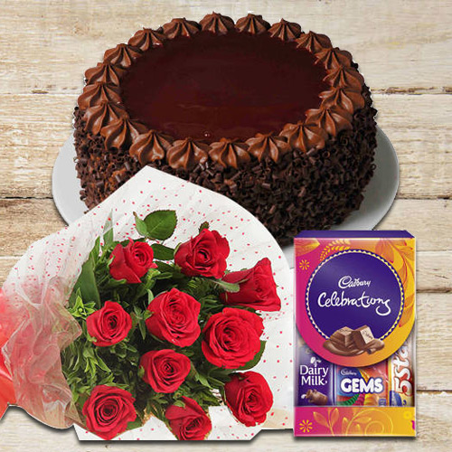 Chocolate Cake with Celebrations Pack N Red Roses