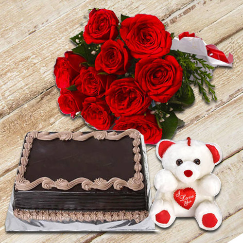 Glorious Hamper of Chocolate Cake with Red Roses Bouquet N Small Teddy