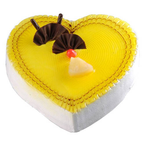 Finger-Licking Pineapple Cake in Heart-Shape