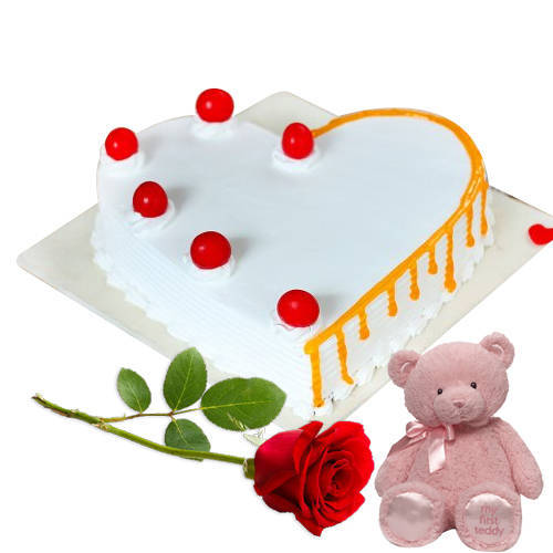 Remarkable Heart-Shape Vanilla Cake with Teddy N Single Rose