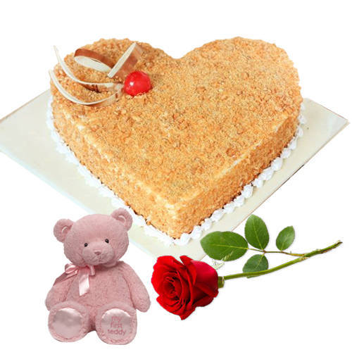 Heart-Shaped Butter Scotch Cake with Rose N Teddy