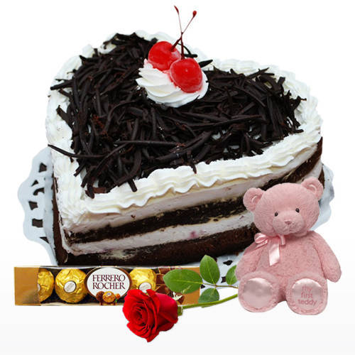 Love Bite Black Forest Cake with Teddy, Red Rose N Ferrero Rocher