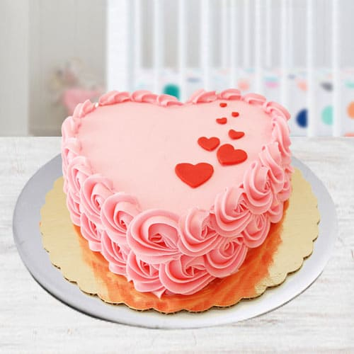 Classic Heart Shaped Strawberry Cake