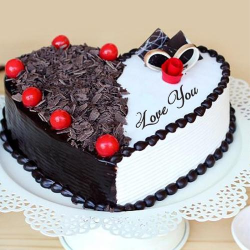 Classic Heart Shape Vanilla N Black Forest Fusion Cake for Propose Day