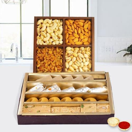 Assorted Dry Fruits with Assorted Sweets with free Roli Tilak and Chawal.