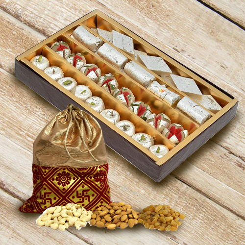 Yummy Gift Pack of Haldiram Sweets N Assorted Dry Fruits
