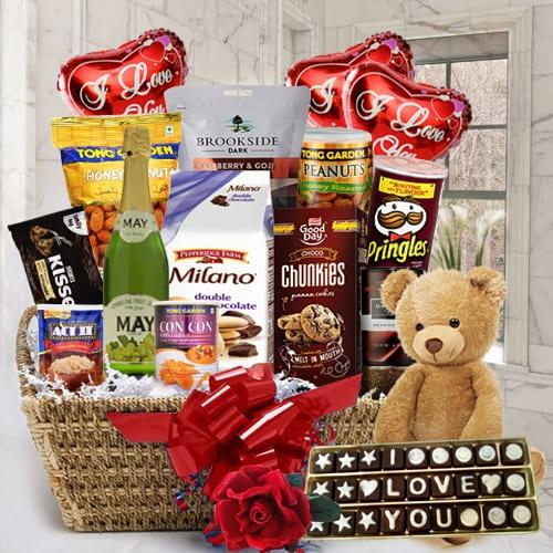 Exquisite Gourmet Delight Gift Hamper with Balloons, Teddy N Rose