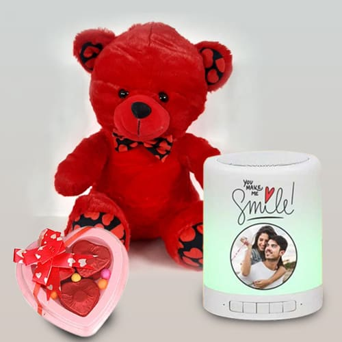 Amazing Personalized Bluetooth Speaker with Cute Teddy N Heart Chocolate