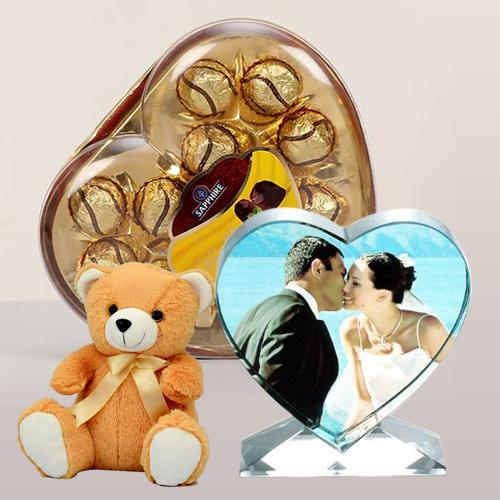 Exclusive Personalized Heart Crystal with Sapphire Chocolate N Cute Teddy
