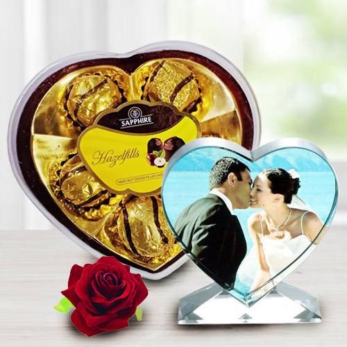 Amazing Personalized Heart Crystal with Sapphire Chocolates n Velvet Red Rose