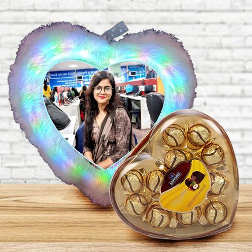 Fantastic Personalized LED Heart Fur Cushion with Sapphire Chocolates
