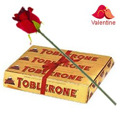Toblerone Swiss make (200 gms) with One Velvet Red Rose