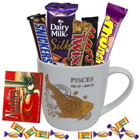 Tempting Chocolates and Pisces Zodiac Sign Printed Mug Gift Combo