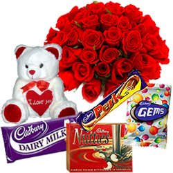 Exquisite Teddy with Assorted Cadbury Chocolate N Roses Bouquet