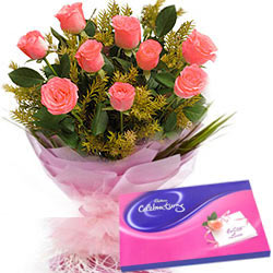 Subtle Pink Roses Hand Bunch with Cadbury Assortment