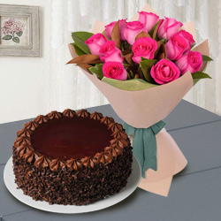 12 Red Roses with ½ Kg Chocolate Cake