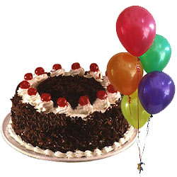 Pleasing Occasions Black Forest Cake and Balloons