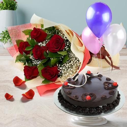 Appetizing 1/2 Kg Truffle Cake with 6 Red Roses Bunch and 3 Balloons