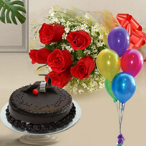Fresh-Baked 1 Kg Chocolate Cake with 6 Red Roses and 5 Balloons