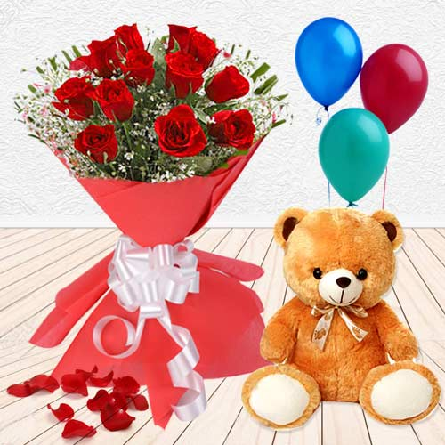Rejoicing Love Gift Threesome of Red Roses, Balloon and Teddy