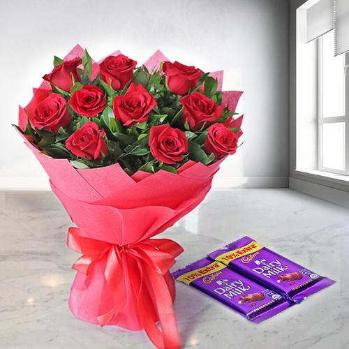 Red Roses N Dairy Milk Choco Combo