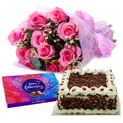 Perfect Combo of Cake, Pink Rose Arrangement with Cadbury Celebration