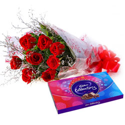 Stylish Bouquet of Red Rose and Cadbury Celebration