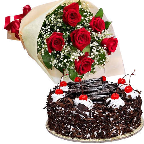Attractive Combo of Black Forest Cake N Bouquet of Red Rose