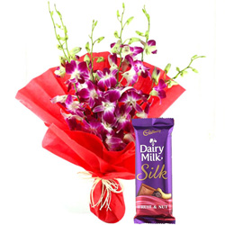 Anniversary Grace Bouquet of Orchids and Cadbury Dairy Milk Silk