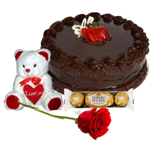Tasty Chocolate Cake with Teddy, Ferrero Rocher N Red Rose
