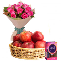 Beautiful Pink Roses Bunch with Apples Basket and Cadbury Mini Celebrations Pack