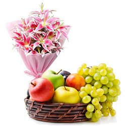 Premium Combo of Fresh-Picked Fruits Baskets with Lilies Bouquet