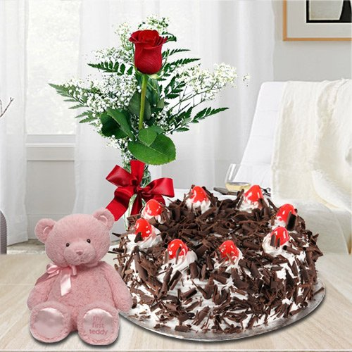 Finest Black Forest Cake with Red Rose and a Small Teddy Bear