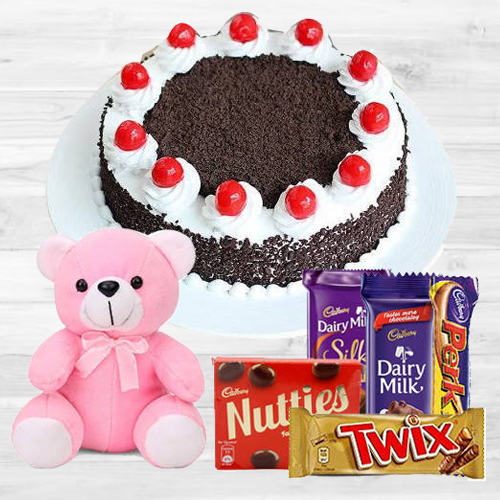 Oven-Fresh 1 Lb Black Forest Cake with Assorted Cadburys Chocolate and a Small Teddy