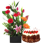 Colorful bouquet with yummy Cakes