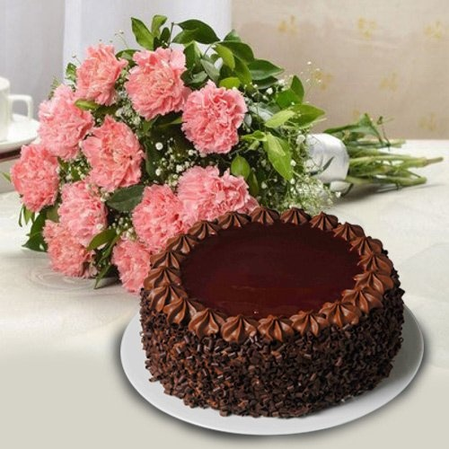 Beautiful Carnations and Cake for Mom