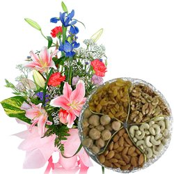 Lovely Seasonal Flowers Bouquet with Assorted Dry Fruits