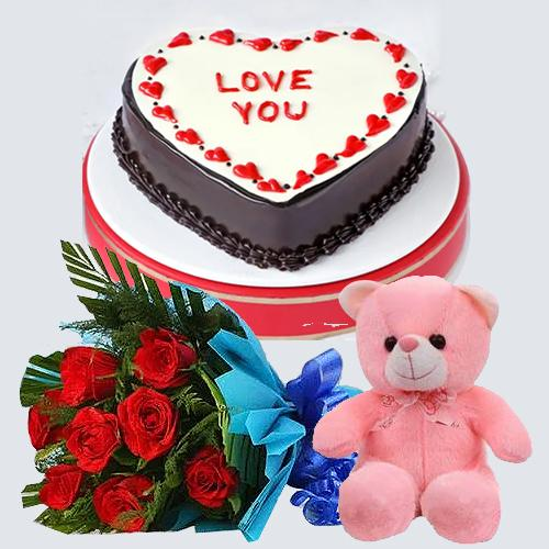 Appetizing Heart Shape Chocolate Cake with Lovely Roses Hand Bunch N Hugging Teddy