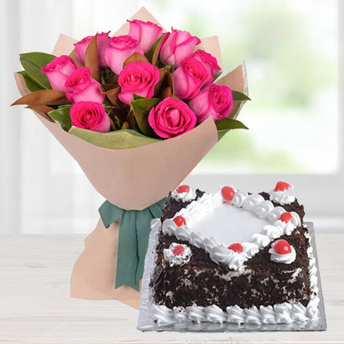 Delicious Black Forest Cake and Bouquet of Pink Roses