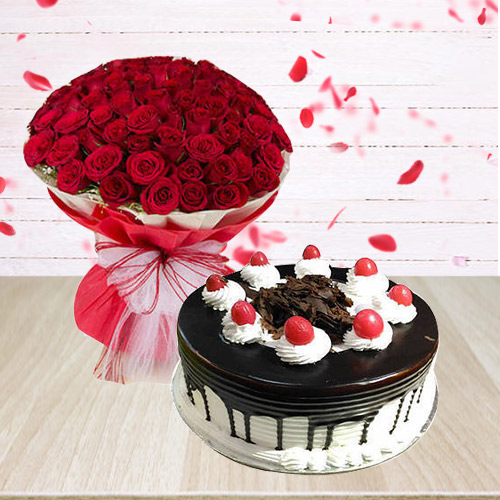 Fresh Black Forest Cake and Bouquet of Red Roses