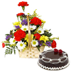 Pretty Carnations and Gerberas and Dark Chocolate Cake