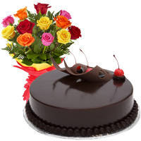 Fashionable Feel of Love 12 Mixed Roses Bunch and Chocolate Cake