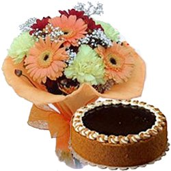 Flowers N Egg less Cake - Midnight Delivery