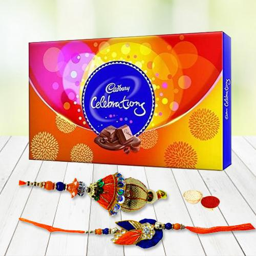 Remarkable Gift Pack of Cadbury Celebration with Bhaiya Bhabhi Rakhi, Roli Tilak and Chawal on the Occasion of Raksha Bandhan