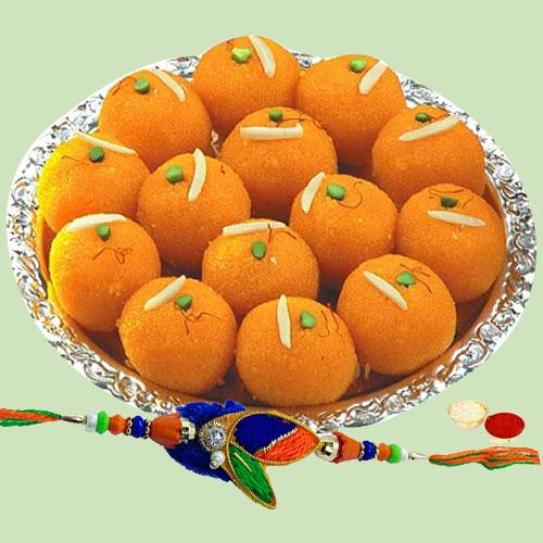 Tasty Pure Ghee Laddoo with Rakhi Roli Tika and Chawal for your Beloved One