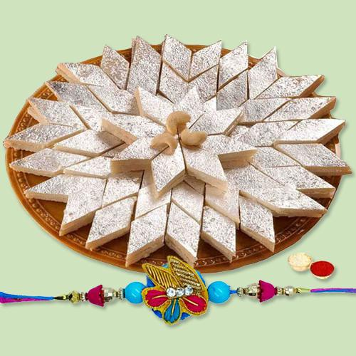 Remarkable Pack of Kaju Katli with Rakhi Roli Tika and Chawal for your Dear Brother