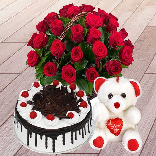 Sweet 25 Red Roses with 1 Lb Black Forest Cake and a Teddy Bear